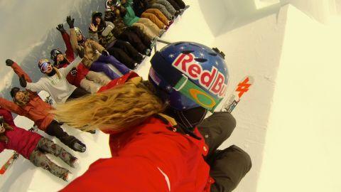 Eliassen, a USANA Health Sciences brand ambassador, grabs a shot of her fans while navigating a halfpipe.