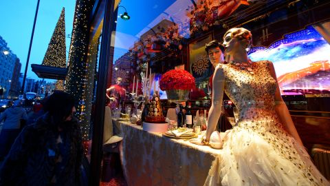 """<strong>""""The Harrods Express,"""" Harrods, London:</strong> The most stylish socialite on board dons an £80,000 ($131,570) Swarovski-encrusted gown by Ralph & Russo for dinner."""