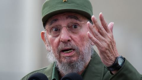 Former Cuban President Fidel Castro delivers a speech during the commemoration of the 50th Anniversary of the Committees of Defense of the Revolution on September 28, 2010 in Havana.