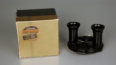 View-Master stereoviewer by Sawyer's Photographic Services in 1939. The View-Master was first introduced at the New York World's Fair in 1939 by William Gruber and Harold Graves, president of Sawyer's Photographic Services. Initially, the product was intended to be educational but later transformed into a toy.