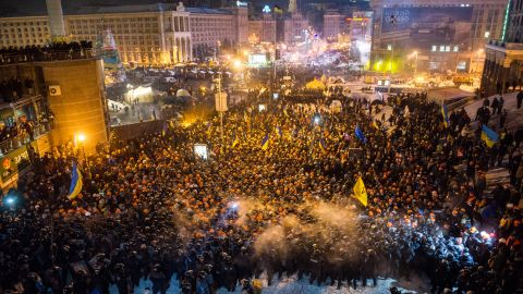 """Riot police move against protesters on Independence Square  around 2 a.m. December 11. U.S. Secretary of State John Kerry expressed """"disgust"""" over the crackdown."""