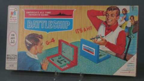 Battleship board game by Milton Bradley in 1967. Battleship dates to at least World War I as a pencil-and-paper-based game. However, Milton Bradley published a plastic version in 1967. In the somewhat dated -- and many would say sexist -- box cover picture, a father and son play the game while a mother and daughter wash dishes in the background.