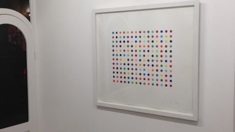 """Two artworks by Damien Hirst have been stolen from a London Gallery. """"Pyronin Y"""", seen hanging in the Exhibitionist Gallery before the theft on December 9, 2013, is worth £15,000 ($24,565)."""