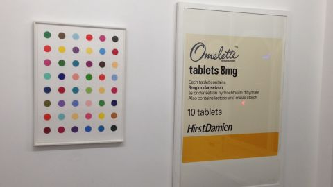 """""""Oleoylsarcosine"""" (left) another of the artist's dot paintings, was created in 2008. It is worth £18,000 ($29,480). Police have appealed for help to recover the stolen pieces."""