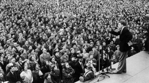 Graham addresses a crowd in London's Trafalgar Square in 1954. Graham's London crusade lasted 12 weeks and drew huge crowds.