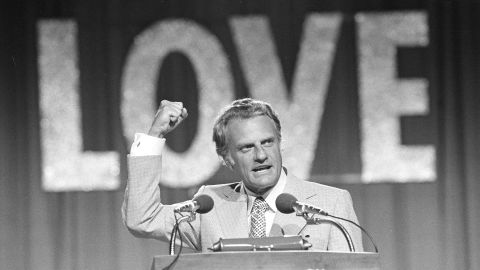 Graham speaks to a crowd of 18,000 on the closing night of the Southern Baptist Convention in 1974.