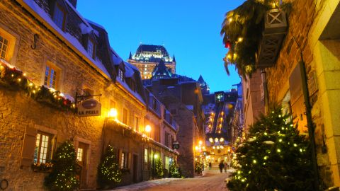 Joyeux Noël! You'll enjoy the holiday lights and brisk winter atmosphere in historic Quebec City, Canada.