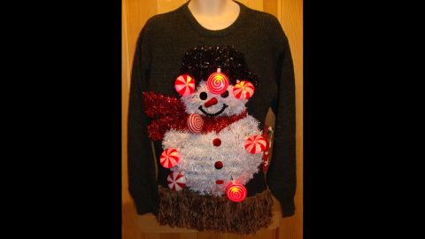 """LED lights are a recent touch to """"ugly"""" holiday sweaters, Blackman said."""