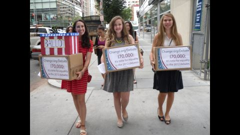 """Sammi Siegel, Emma Axelrod and Elena Tsemberis are three New Jersey teens who<a href=""""https://www.change.org/petitions/it-s-time-for-a-woman-moderator-equality-in-the-2012-presidential-debates"""" target=""""_blank"""" target=""""_blank""""> petitioned to get a female moderator</a> for the 2012 presidential debate. CNN's Candy Crowley was named a moderator for the second debate, in which<a href=""""http://sotu.blogs.cnn.com/2013/12/11/millennial-women-are-closing-pay-gap-but-theyre-still-pessimistic-about-workplace-equality/""""> wage parity </a>became an issue."""