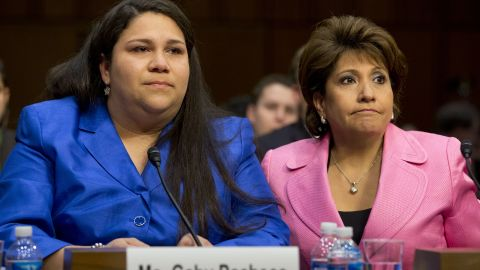 """Gaby Pacheco, an immigrant rights leader and director of the <a href=""""http://www.usbridgeproject.org/the_team"""" target=""""_blank"""" target=""""_blank"""">Bridge Project</a>, left, was accompanied by Janet Murguía, president and CEO of the National Council of La Raza, when Pacheco <a href=""""http://www.miamiherald.com/2013/04/27/3368843/an-undocumented-immigrants-plea.html"""" target=""""_blank"""" target=""""_blank"""">testified before Congress</a> about the DREAM Act."""