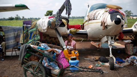 Christians at the Bangui airport gather in a makeshift camp for internally displaced people on Friday, December 13.