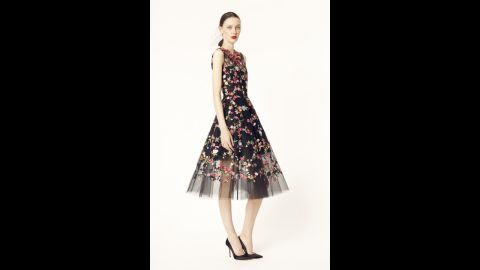 """Embroidery, as shown on this dress for the Oscar de la Renta 2014 resort collection, is a traditionally """"festive"""" element of holiday clothing."""