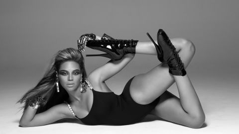 """Beyonce during the filming of her hugely popular music video """"Single Ladies (Put A Ring on It)."""""""