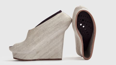 """Designer <a href=""""http://lizciokajlo.co.uk/"""" target=""""_blank"""" target=""""_blank"""">Liz Ciokajlo</a> believes natural materials, including coconut husks, hemp and flax, can be utilized in the 3-D printing process. She 3-D printed molds for these shoes and then wrapped them in natural fibers. As she says: """"3-D print has the potential to address economic and sustainable issues the footwear industry is facing."""""""