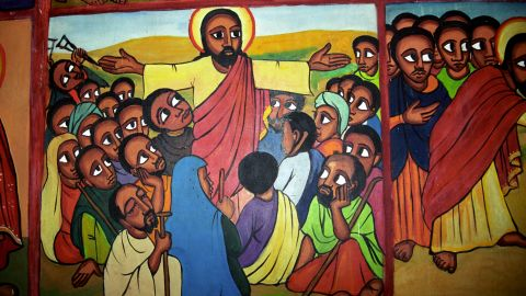 In Kalacha, Kenya, Jesus is portrayed as a black man, and is often painted this way in remote African villages.