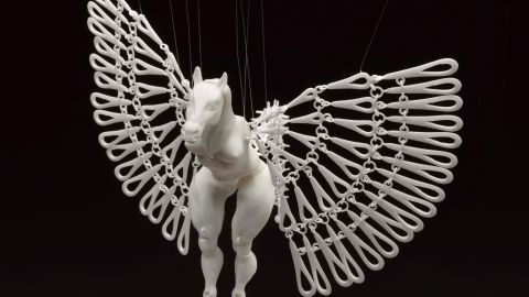 """South African artist <a href=""""http://nomili.co.za/"""" target=""""_blank"""" target=""""_blank"""">Michaella Janse van Vuuren</a> says this intricate puppet could not have been made by hand. """"The Horse Marionette has fully functional joints and movable wings,"""" she says. """"All the horse's parts have been placed in the same digital file so no assembly is required afterward. When strung up the horse comes to life."""""""