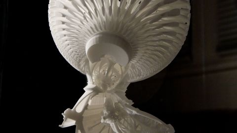 """German artist <a href=""""http://www.kleintobias.com/"""" target=""""_blank"""" target=""""_blank"""">Tobias Klein</a> used MRI images of his own body to create Inversive Embodiment. The 3-D printed work combines the architecture of St. Paul's Cathedral with a model of his own heart."""