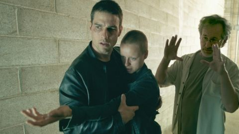 """Actor Tom Cruise, left, Spielberg and Samantha Morton shoot """"Minority Report"""" in 2002. The film was a commercial success, making more than $300 million worldwide."""