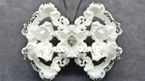 """London-based designer Silvia Weidenbach created this necklace using 3-D printing techniques. """"I combine new technologies with traditional artisan, craft skills and it is through my understanding and use of both that I discovers new forms of expression,"""" she says."""