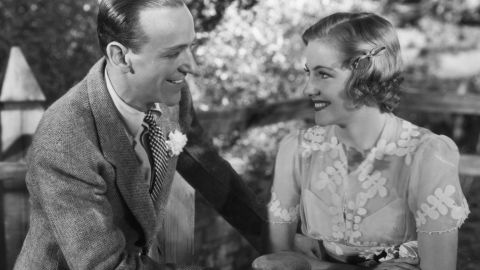 """Fontaine and Fred Astaire appear in a scene from the film """"Damsel In Distress"""" in 1937."""