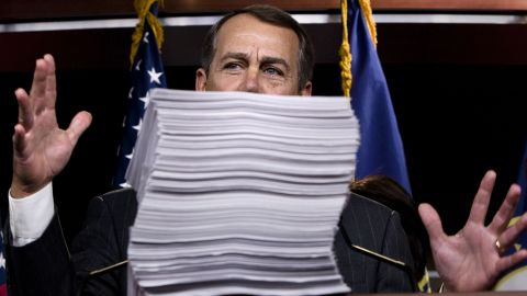 Boehner voices his concerns about the health care reform bill championed by Obama during a news conference in Washington on October 29, 2009.