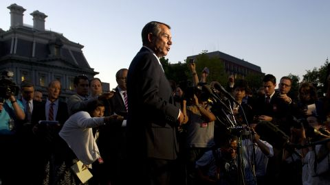 Boehner speaks to the media after a meeting with President Obama at the White House in October 2013, the second day of the federal government's recent shutdown. The White House squared off with Republican rivals in Congress over how to fund federal agencies, many of which were forced to close, leaving a fragile economy at risk.