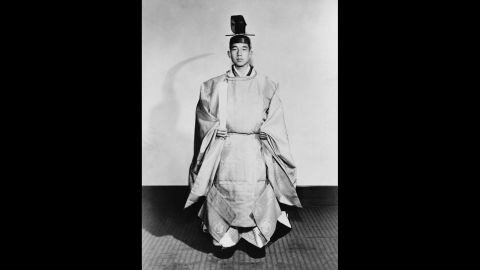 Crown Prince Akihito in ceremonial robes for his formal investiture as crown prince at the Tokyo Imperial Palace on November 10, 1952.