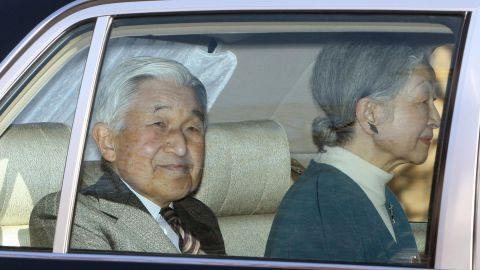 Akihito leaves the University of Tokyo Hospital in Tokyo on February 12, 2012. Akihito was scheduled to undergo heart bypass surgery after tests showed the narrowing of his arteries had worsened.