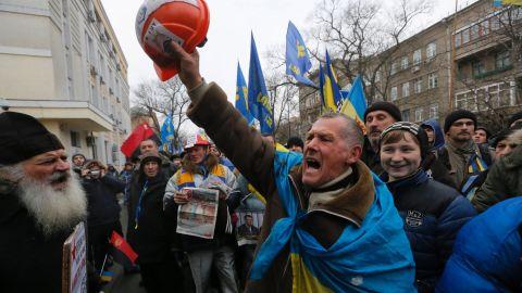 Pro-EU activists march in Kiev on December 17.