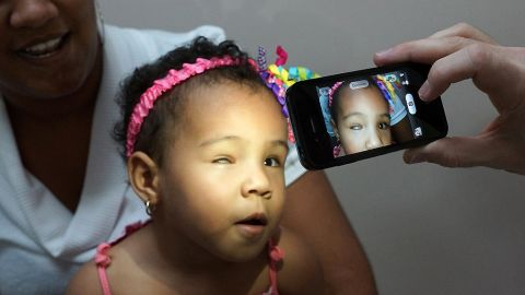A camera phone is a useful tool in documenting teaching cases. Dr Adolfo Guemes, ORBIS volunteer ophthalmologist from Buenos Aires, uses his phone camera to document some of his teaching cases.