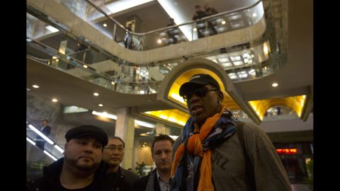 Rodman attracts notice as he enters the Koryo Hotel in Pyongyang in December 2013.