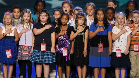 Third graders from a local school lead the Pledge of Allegiance during a walkthrough before the start of of the Democratic National Convention September 4, 2012 in Charlotte, North Carolina.