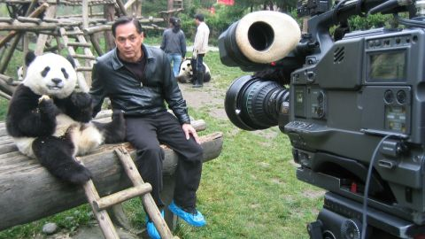 """FlorCruz """"interviews"""" China's most popular icon in the panda nature reserve in Sichuan province."""