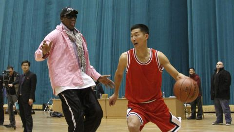 Rodman plays one-on-one with a North Korean player during a practice session in Pyongyang in December 2013. During the session, Rodman selected the members of the North Korean team who would play in Pyongyang against the visiting NBA stars.