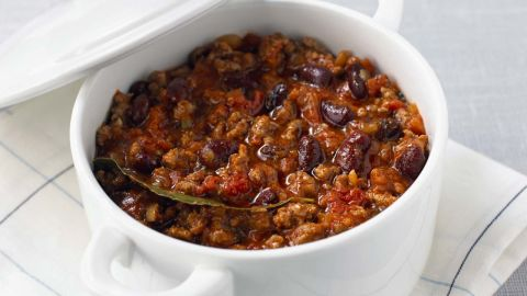 """If soup is filling and protein builds muscle, then chili has all that and more. The combination of the fiber from the tomatoes and the protein from the beans and beef and prevents overeating. Plus, capsaicin, the compound that gives cayenne, chili peppers, and jalapeños their heat, can also torch fat, says weight-loss specialist and board-certified internist Dr. Sue Decotiis. <br /><br />Spices trigger your sympathetic nervous system -- which is responsible for both the fight-or-flight response and spice-induced sweating -- to increase your daily calorie burn by about 50 calories, she says. That equals about 5 pounds lost over a single year. <br /><br /><a href=""""http://www.health.com/health/recipe/0,,50400000124166,00.html"""" target=""""_blank"""" target=""""_blank"""">Try this recipe: Chili from scratch</a>"""