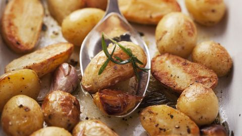"""Spuds don't have a waist-friendly reputation, but they're actually full of nutrients, Gidus says. """"White foods contain the disease-fighting chemical allicin,"""" she says. """"This chemical, also present in garlic, has been shown to <a href=""""http://www.health.com/health/gallery/0,,20705881,00.html"""" target=""""_blank"""" target=""""_blank"""">fight inflammation</a> in the body, contributing to smaller waistlines."""" Plus, research shows that calorie for calorie, white potatoes are more satisfying than any other tested food. <br /><br /><a href=""""http://www.health.com/health/gallery/0,,20705881,00.html"""" target=""""_blank"""" target=""""_blank"""">Try this recipe: Garlicky roasted potatoes with herbs</a>"""