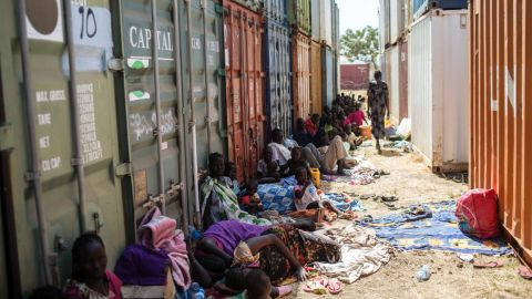 South Sudanese civilians seek shade at the mission's base on December 17.