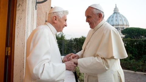 """Pope Francis meets with Pope Emeritus Benedict XVI at the Vatican in December 2013. Benedict surprised the world by resigning """"because of advanced age."""" It was the first time a pope has stepped down in nearly 600 years."""