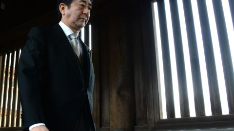"""Japanese Prime Minister Shinzo Abe said his visit was to """"uphold the pledge never to wage a war again."""" The visit took 30 minutes."""