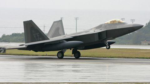 A U.S. Air Force fighter lands at Kadena U.S. Air Base in Okinawa.