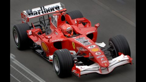 Schumacher drives during a practice session at the Australian Formula 1 Grand Prix in Melbourne in 2006.