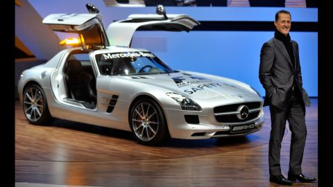 Shumacher presents the new Mercedes SLS AMG, also the 2010 Formula 1 safety car, in Geneva in 2010.