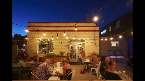 Chef Ben Poremba renovated a Standard Oil gas station built in the 1930s into a wine bar and restaurant in St. Louis, Missouri. Olio opened in November 2012.