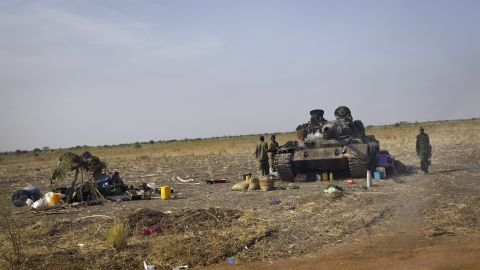 South Sudanese government soldiers man a tank near the airport in Malakal, South Sudan, on Monday, December 30.