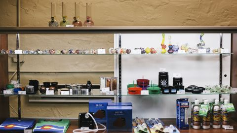 Marijuana paraphernalia sits on display at the LoDo Wellness Center. Communities and counties in Colorado can still choose not to allow marijuana stores in their local jurisdictions.