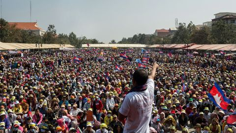 A Cambodia National Rescue Party supporter address crowds at Freedom Park on December 29, 2013 in Phnom Penh, Cambodia.