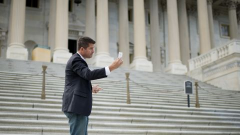 """Sean Duffy, the former """"Real World: Boston"""" star, was elected to the U.S. House in 2010 and re-elected in 2012. Here, the Wisconsin Republican shoots a video of himself on the Senate steps In Washington."""