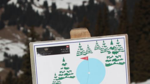 The nine-hole course is remade each year on Gstaad's Wispile mountain.