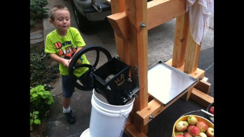 """James Prichard, a former stay-at-home dad in Oak Grove, Oregon, said there is no way to """"ensure kids are getting a healthy lunch or breakfast unless you pack it yourself."""" So that's what he does. They now have their own chickens for eggs and built a cider press so they can freeze apple cider and have it throughout the year."""