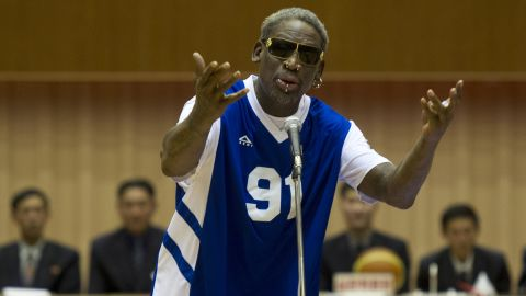 "Dennis Rodman sings happy birthday to North Korean leader Kim Jong Un before an exhibition basketball game between the North Korean team and ""Team Rodman"" in Pyongyang, North Korea, on Wednesday, January 8."